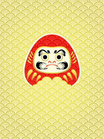nengajo: Japanese New Year card with Daruma in waves Illustration