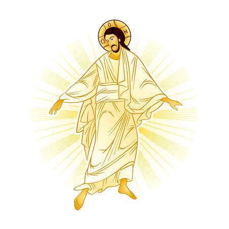 Resurrection of Jesus with a heavenly light  イラスト・ベクター素材