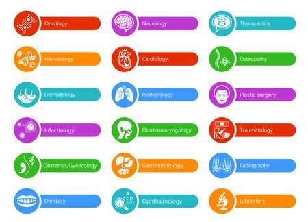 autocollants colorés pour l'hôpital avec les grandes spécialités médicales