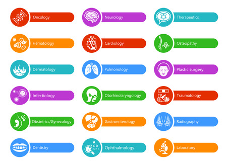 Colorful stickers for hospital with major medical specialties Illustration