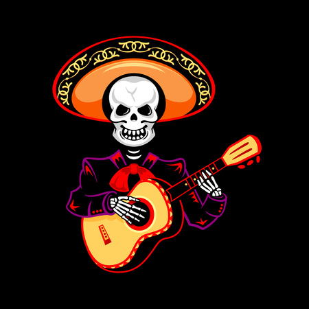 ballad: Mariachi guitar player for Day of the Dead Illustration