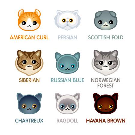 breed: Kawaii cat breed head icons