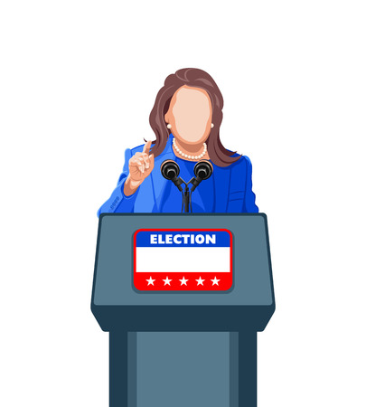 politician: Female politician giving an election campaign speech