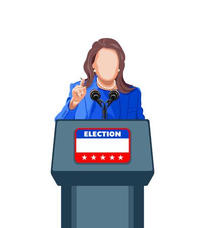 politician: Female politician giving an election campaign speech