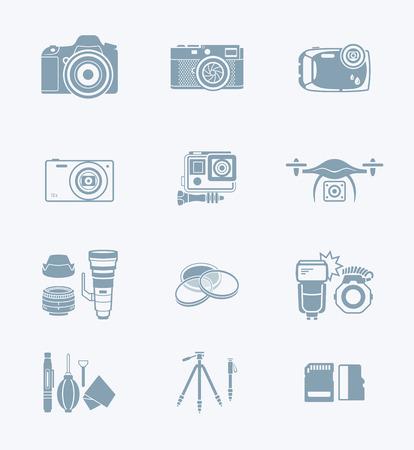 cámaras digitales y accesorios de cámara gris icono-set