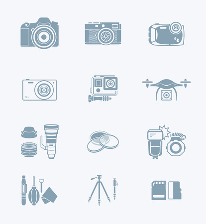 digital camera: Digital camera and camera accessories grey icon-set