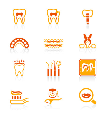 anaesthesia: Dental care tools and procedures red-orange icon-set Illustration