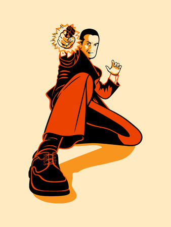 hitman: Mafia hitman shooting in retro three color print