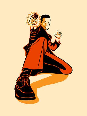 Mafia hitman shooting in retro three color print