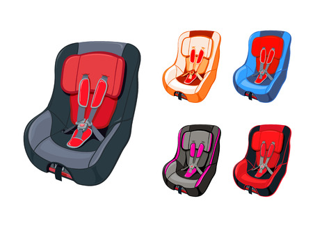 car seat: Colorful child car seat isolated Illustration