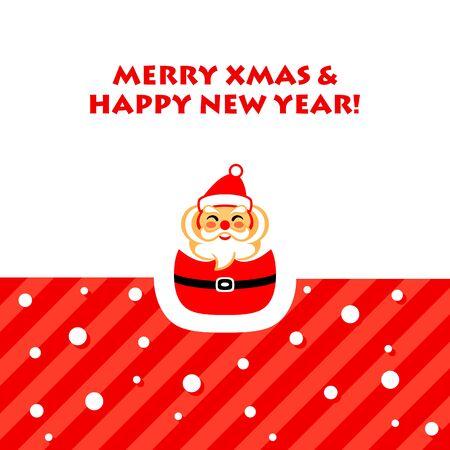Cartes de Nouvel An avec le Père Noël heureux Banque d'images - 61115763
