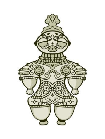 縄文時代の日本の土偶 (土器図) 置物