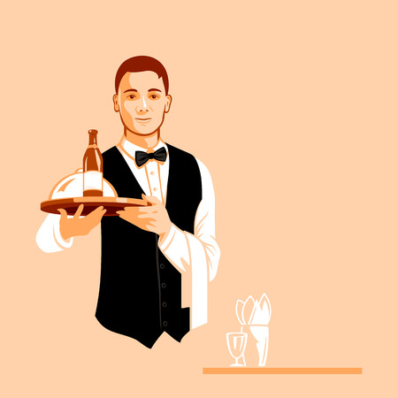 Young handsome waiter with a serving tray