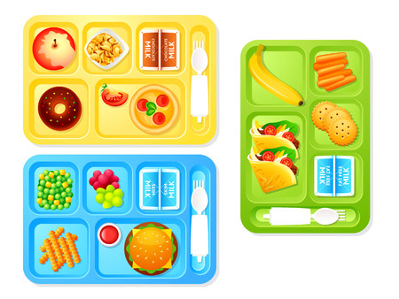 niño escuela: bandejas de almuerzo escolar saludable y sabrosa Vectores