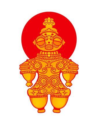 ancestors: Jomon Dogu figurine over Japanese flag Illustration