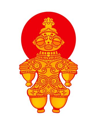 Jomon Dogu figurine over Japanese flag Illustration