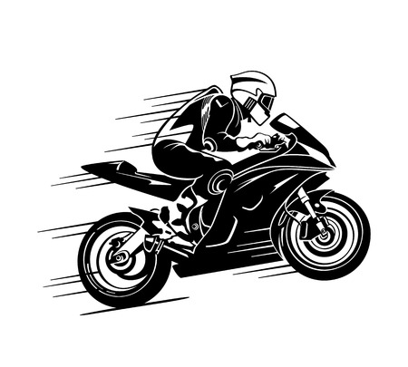 Speedy motorbiker at the race silhouette