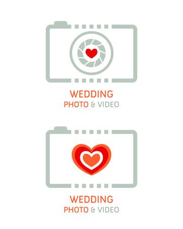Wedding photo and video agency symbols Illustration