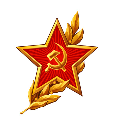 hammer and sickle: Soviet Red Army badge over peaceful olive branch