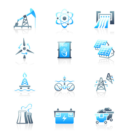 turbina: Energía, potencia y energía eléctrica azul-gris icono-set Vectores
