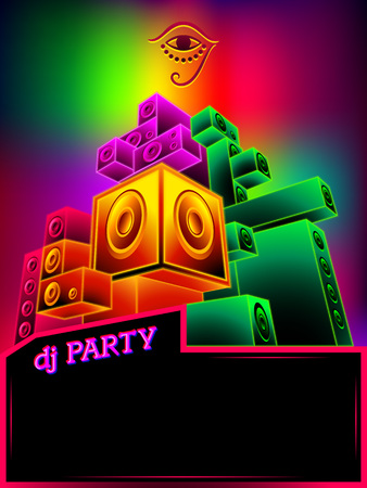 Poster template with rainbow neon loudspeakers for dj party