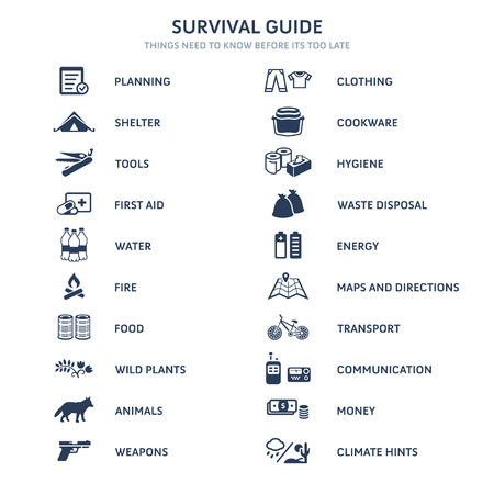Survival guide main topics flat icons Illustration