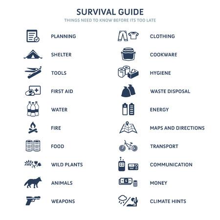 Survival Guide temi principali icone piane