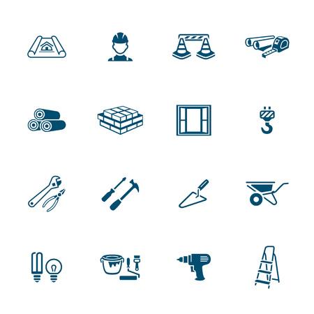 materiales de construccion: Herramientas de construcción, materiales y objetos icon-set