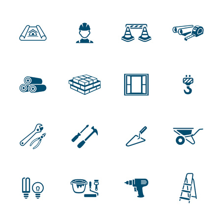 Construction tools, materials and objects icon-set