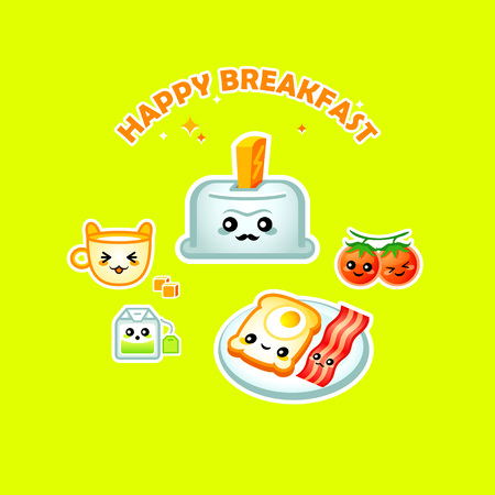 nutritious: Cute happy breakfast for children