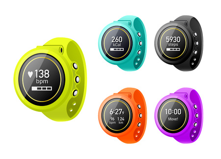 tracking: Colorful fitness tracker with the different metrics
