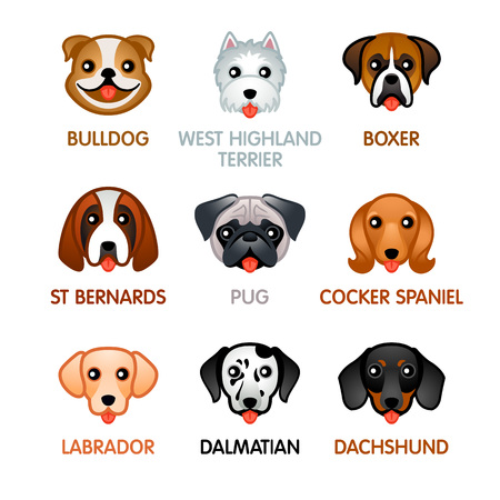 Kawaii dog breed head icons Иллюстрация