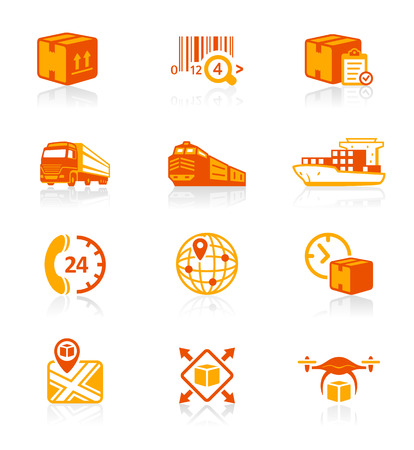 freight train: Logistics and delivery red-orange icon-set