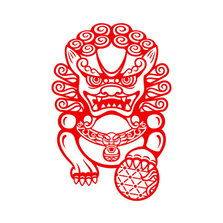Mighty Chinese entrance guardian Foo dog or Shi shi Illustration