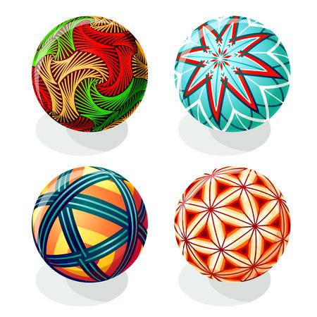 A Japanese Temari ball designs in autumn colors