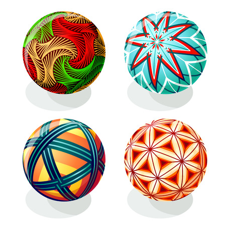 A Japanese Temari ball designs in autumn colors