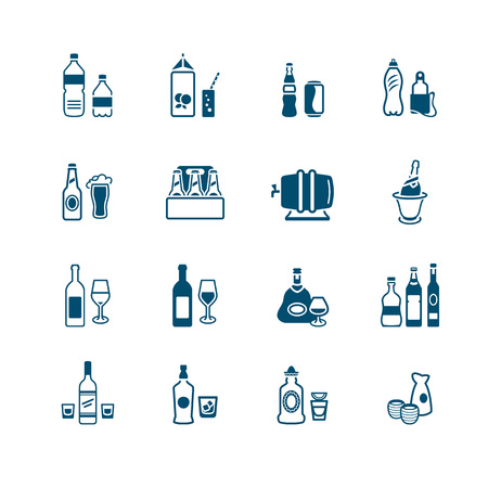 Traditional non- and alcoholic drinks icon-set