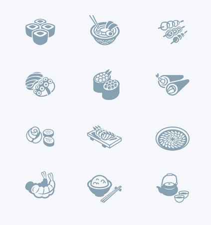 Traditional Japanese sushi restaurant food icon set.