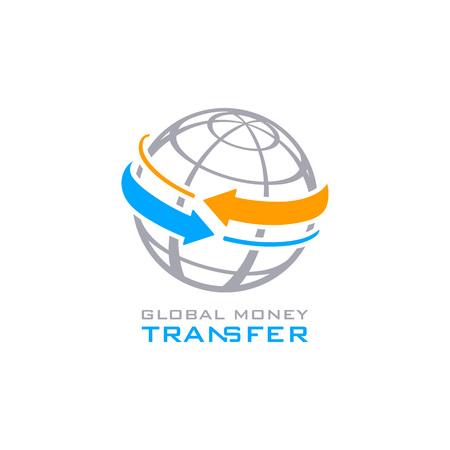 Global money transfer service symbol isolated  イラスト・ベクター素材