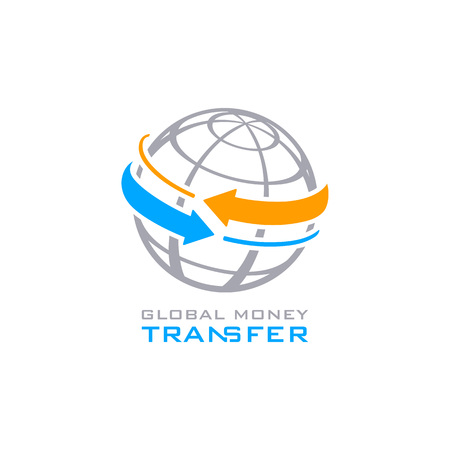 Global money transfer service symbol isolated 矢量图像