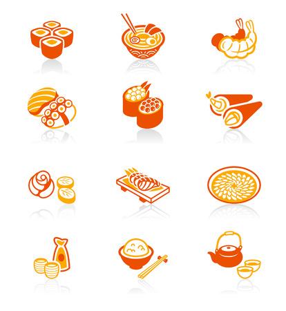 Traditional Japanese sushi restaurant food red-orange icon set. Illustration