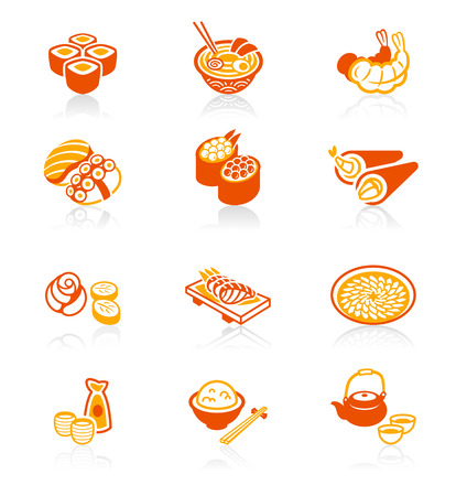 Traditional Japanese sushi restaurant food red-orange icon set. Иллюстрация