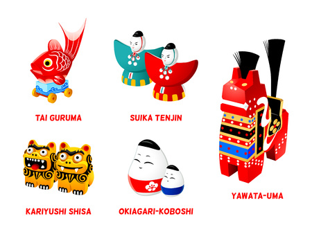 Popular Japanese folk animal and zen toys set, isolated.