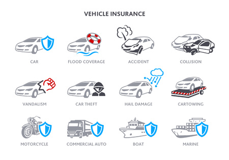 Insurance icons for road and marine vehicles Illustration