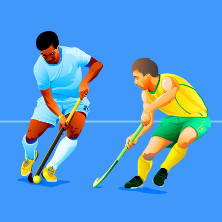 Two field hockey players fighting for a ball