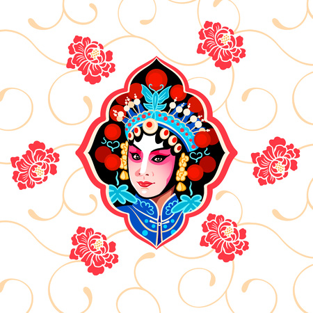 Chinese Peking opera floral poster with a beauty performer Çizim