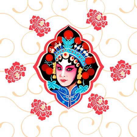 Chinesisches Peking-Oper-Blumenplakat mit einer Schönheitsdarstellerin