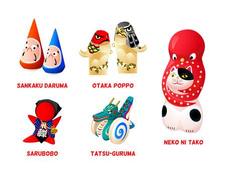 Popular Japanese folk animal and zen toys isolated