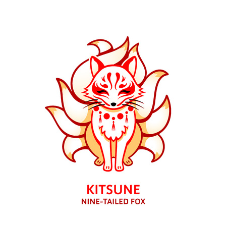 Japanese nine-tailed mythical fox Kitsune