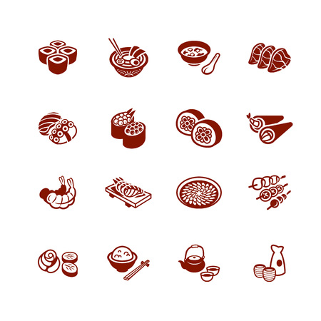 Traditional japanese sushi restaurant food micro icon set